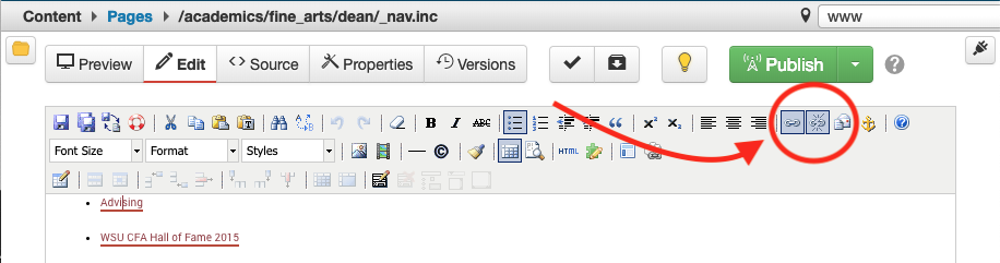 A red arrow points to the link editor in the WYSIWYG editor