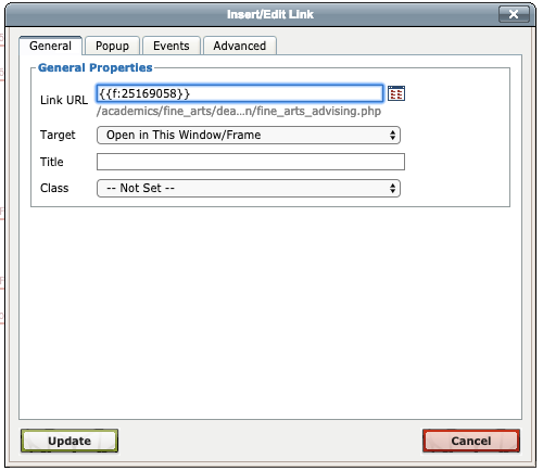 An image of the WYSIWYG link editor