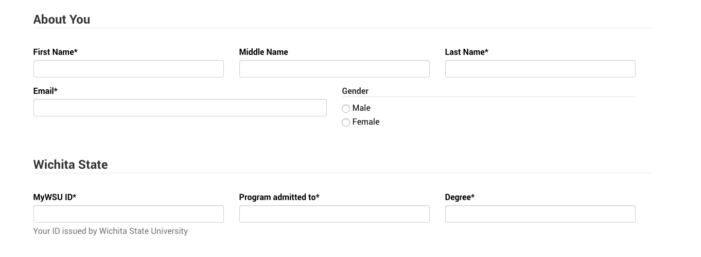 An example form with fields on multiple rows and columns.