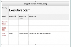Automatic Profile Groups Snippet as a table transformation